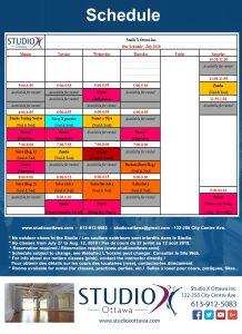 July 2018 Schedule – Horaire de Juillet 2018
