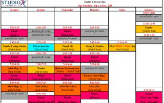 September 2018 Schedule – Horaire de Septembre 2018