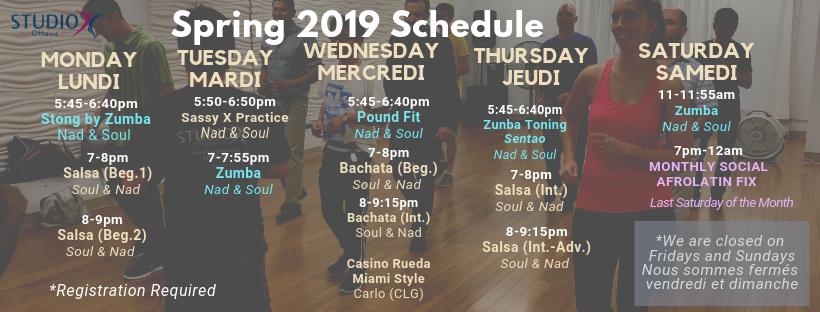 *Spring 2019 Schedule – Horaire de printemps 2019